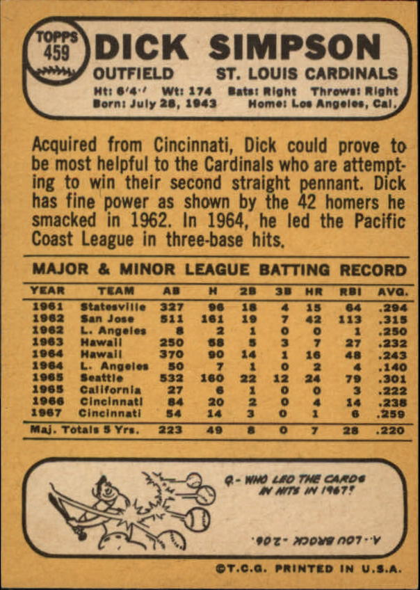 1968 Topps #459 Dick Simpson back image
