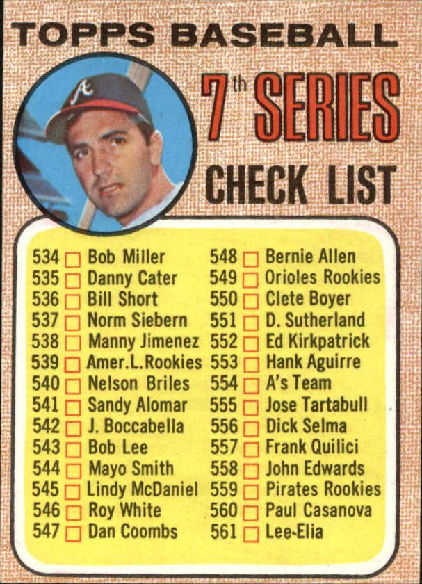 1968 Topps #518B Checklist 7 Clete Boyer ERR 539 is ML Rookies