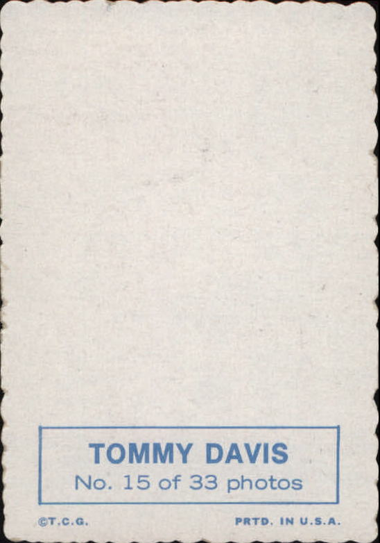 1969 Topps Deckle Edge #15 Tommy Davis back image
