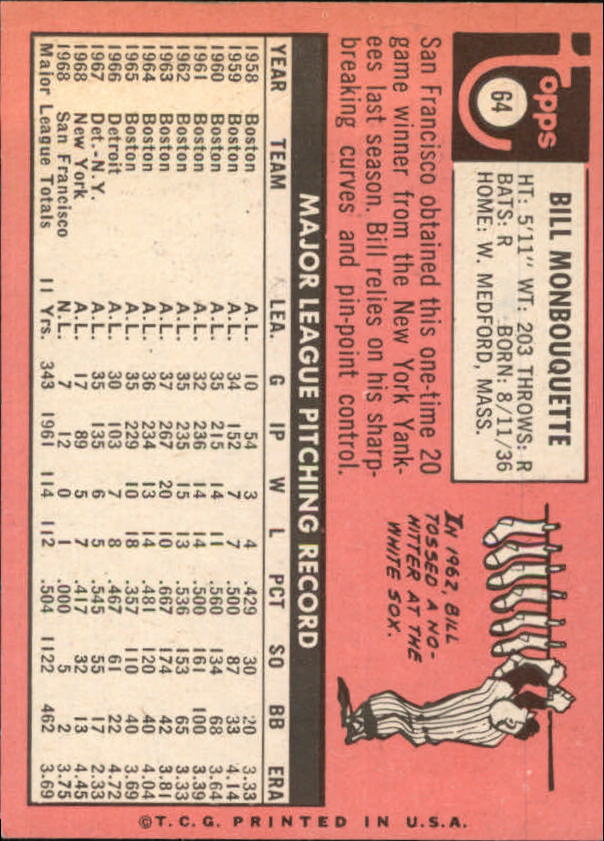 1969 Topps #64 Bill Monbouquette back image