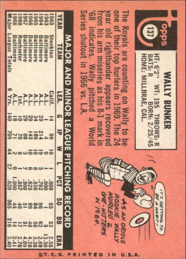 1969 Topps #137 Wally Bunker back image