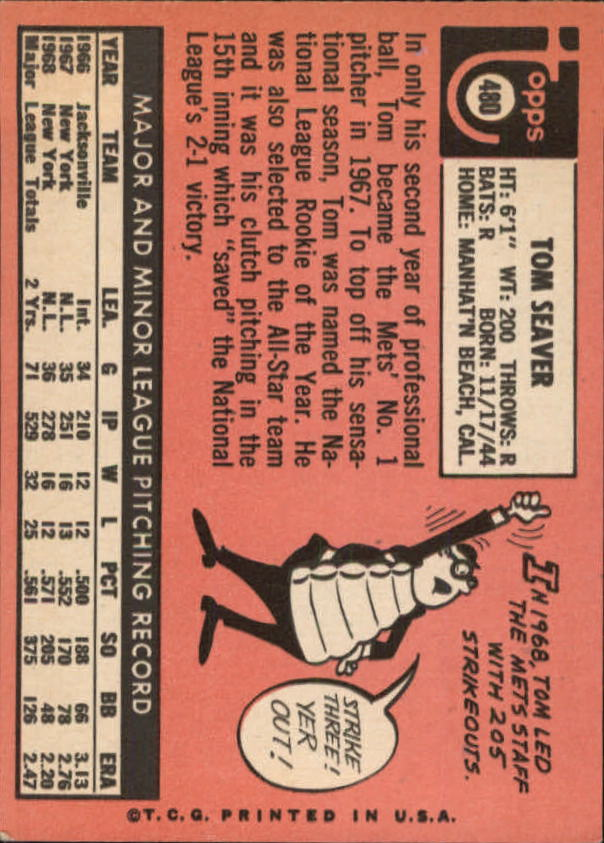 1969 Topps #480 Tom Seaver back image