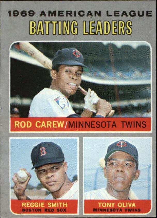 1970 Topps #62 AL Batting Leaders/Rod Carew/Reggie Smith/Tony Oliva