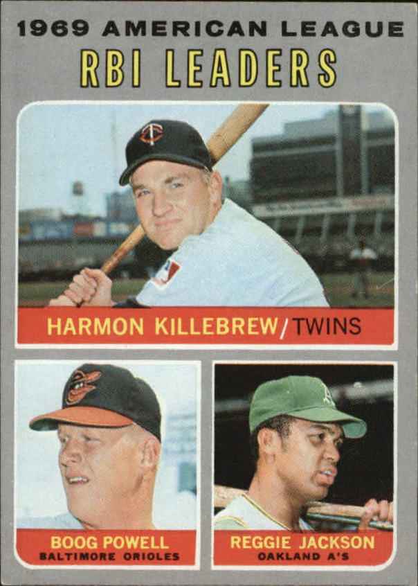1970 Topps #64 AL RBI Leaders/Harmon Killebrew/Boog Powell/Reggie Jackson