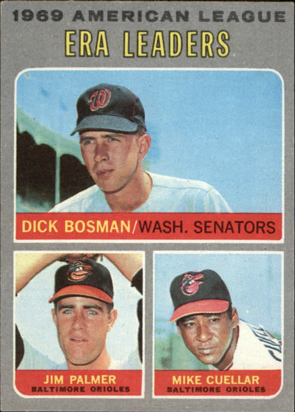 1970 Topps #68 AL ERA Leaders/Dick Bosman/Jim Palmer/Mike Cuellar