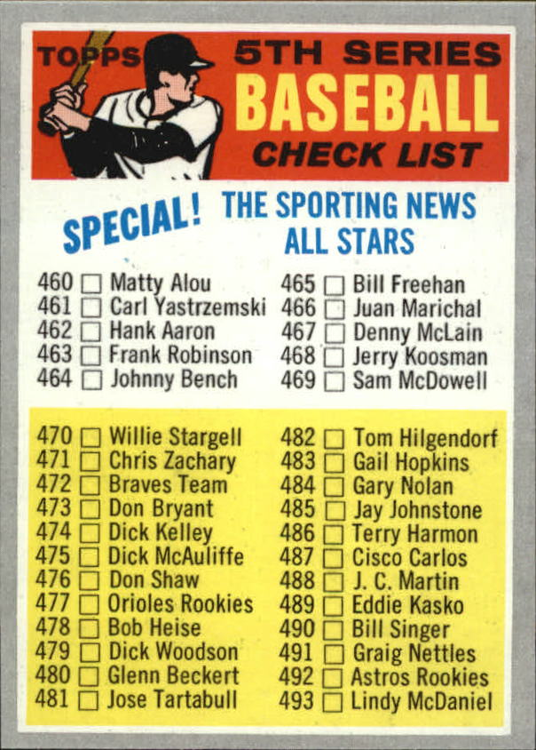 1970 Topps #432A Checklist 5 Baseball in Yellow Letters