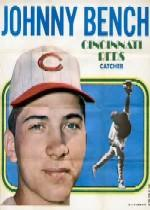 1970 Topps Posters Inserts #11 Johnny Bench