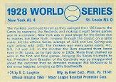 1970 Fleer Laughlin World Series Blue Backs #25 1928 Yankees/Cardinals/(Babe Ruth/and Lou Gehrig back image