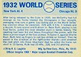 1970 Fleer Laughlin World Series Blue Backs #29 1932 Yankees/Cubs/(Babe Ruth/and Lou Gehrig) back image