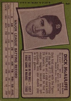 1971 Topps #3 Dick McAuliffe back image