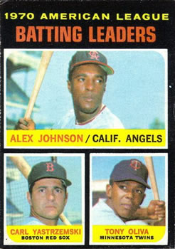 1971 Topps #61 AL Batting Leaders/Alex Johnson/Carl Yastrzemski/Tony Oliva