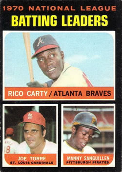 1971 Topps #62 NL Batting Leaders/Rico Carty/Joe Torre/Manny Sanguillen
