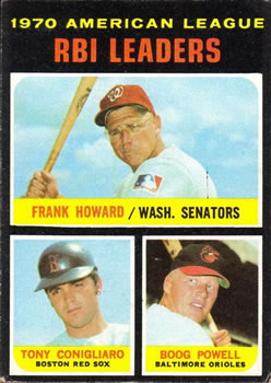 1971 Topps #63 AL RBI Leaders/Frank Howard/Tony Conigliaro/Boog Powell