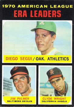 1971 Topps #67 AL ERA Leaders/Diego Segui/Jim Palmer/Clyde Wright