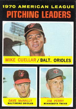 1971 Topps #69 AL Pitching Leaders/Mike Cuellar/Dave McNally/Jim Perry