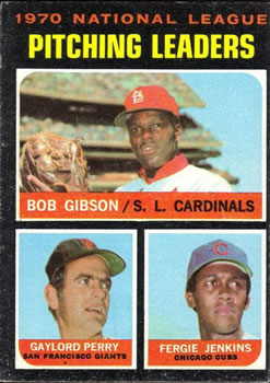 1971 Topps #70 NL Pitching Leaders/Bob Gibson/Gaylord Perry/Fergie Jenkins