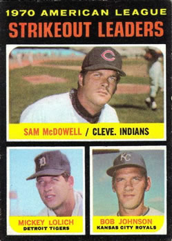 1971 Topps #71 AL Strikeout Leaders/Sam McDowell/Mickey Lolich/Bob Johnson