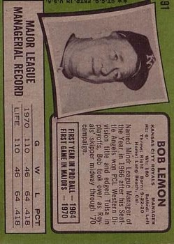 1971 Topps #91 Bob Lemon MG back image