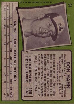 1971 Topps #94 Don Hahn RC