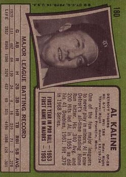 1971 Topps #180 Al Kaline UER/(Home instead/of Birth) back image