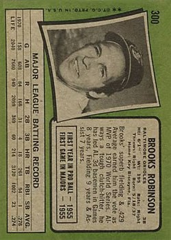 1971 Topps #300 Brooks Robinson back image