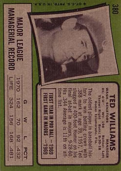 1971 Topps #380 Ted Williams MG back image