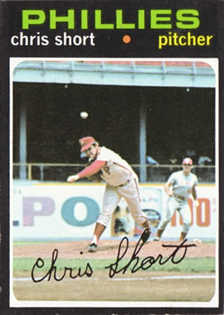 1971 Topps #511 Chris Short/(Pete Rose leading off second)