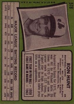 1971 Topps #578 Ron Hunt back image