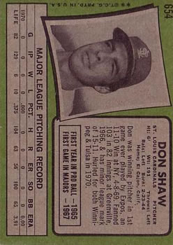 1971 Topps #654 Don Shaw SP back image