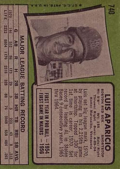 1971 Topps #740 Luis Aparicio UER SP/Led AL in steals/from 1965 to 1964,/should be 1956 to 1964