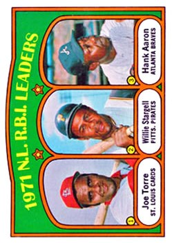 1972 Topps #87 NL RBI Leaders/Joe Torre/Willie Stargell/Hank Aaron