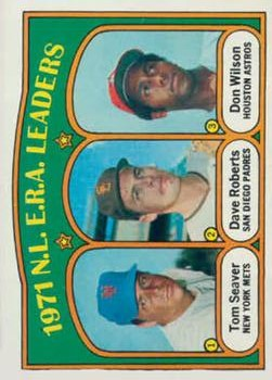 1972 Topps #91 NL ERA Leaders/Tom Seaver/Dave Roberts UER/(Photo actually/Danny Coombs)/Don Wilson