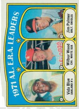 1972 Topps #92 AL ERA Leaders/Vida Blue/Wilbur Wood/Jim Palmer