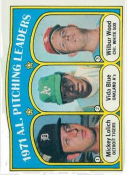 1972 Topps #94 AL Pitching Leaders/Mickey Lolich/Vida Blue/Wilbur Wood