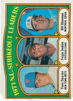 1972 Topps #95 NL Strikeout Leaders/Tom Seaver/Fergie Jenkins/Bill Stoneman