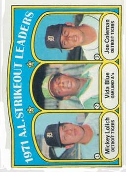 1972 Topps #96 AL Strikeout Leaders/Mickey Lolich/Vida Blue/Joe Coleman