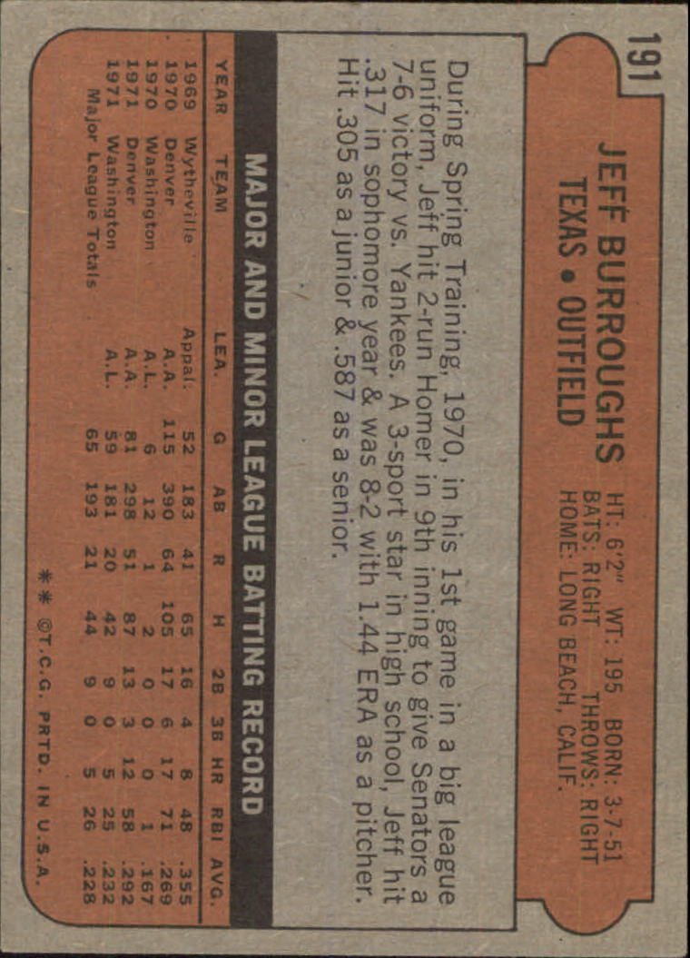 1972 Topps #191 Jeff Burroughs RC back image