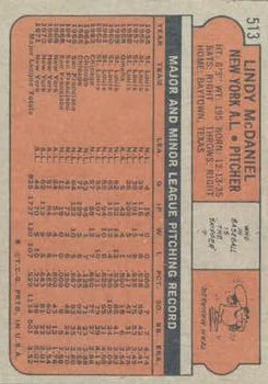 1972 Topps #513 Lindy McDaniel back image