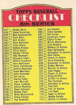 1972 Topps #604B Checklist 657-787/Copyright on back/bottom left