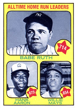 1973 Topps #1 Babe Ruth 714/Hank Aaron 673/Willie Mays 654/All-Time Home Run Leaders