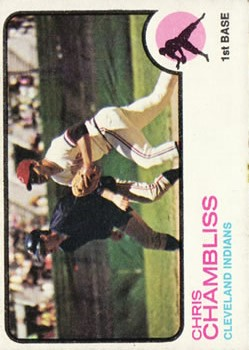 1973 Topps #11 Chris Chambliss UER/His Home town is spelled incorrectly