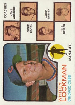 1973 Topps #81B Whitey Lockman MG/Hank Aguirre CO/Ernie Banks CO/Larry Jansen CO/Pete Reiser CO (Natural backgrounds) front image