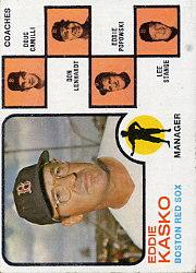 1973 Topps #131A Eddie Kasko MG/Doug Camilli CO/Don Lenhardt CO/Eddie Popowski CO (without Right Ear)/Lee Stange CO