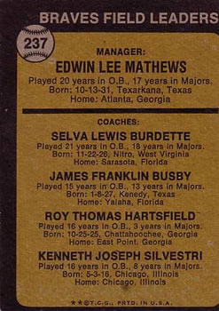 1973 Topps #237B Eddie Mathews MG/Lew Burdette CO (without Right Ear)/Jim Busby CO/Roy Hartsfield CO/Ken Silvestri CO back image