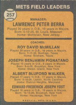 1973 Topps #257A Yogi Berra MG/Roy McMillan CO/Joe Pignatano CO/Rube Walker CO/Eddie Yost CO/Orange background back image