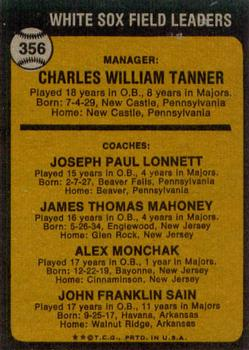 1973 Topps #356 Chuck Tanner MG/Joe Lonnett CO/Jim Mahoney CO/Al Monchak CO/Johnny Sain CO back image
