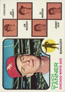 1973 Topps #356 Chuck Tanner MG/Joe Lonnett CO/Jim Mahoney CO/Al Monchak CO/Johnny Sain CO front image