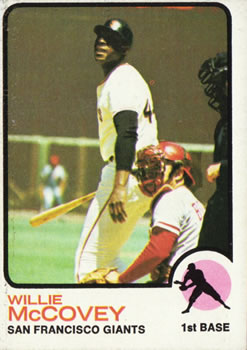 1973 Topps #410 Willie McCovey (w/Johnny Bench behind plate)