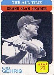 1973 Topps #472 Lou Gehrig/All-Time Grand Slam Leader