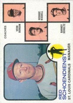 1973 Topps #497A Red Schoendienst MG/Vern Benson CO/George Kissell CO/Barney Schultz CO (Orange Background)